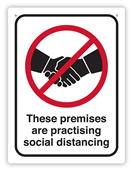SIGN DURUS SOCIAL DISTANCING THESE PREMISES ARE PRACTISING SOCIAL DISTANCING 225X300MM WALL MOUNT BLACKRED