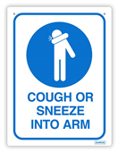 SIGN DURUS HYGIENE COUGH OR SNEEZE INTO ARM 225X300MM WALL MOUNT BLUEWHITE