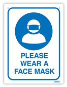SIGN DURUS HYGIENE PLEASE WEAR A FACE MASK 225X300MM WALL MOUNT BLUEWHITE