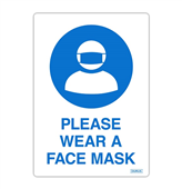SIGN DURUS HYGIENE SELF ADHESIVE DECAL PLEASE WEAR A FACE MASK 105X148MM BLUEWHITE PK2