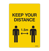 SIGN DURUS SOCIAL DISTANCING SELF ADHESIVE DECAL KEEP YOUR DISTANCE 105X148MM YELLOWBLACK PK2
