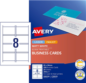 BUSINESS CARD AVERY QUICK  CLEAN INKJET DSIDED C3201525 MATT WHITE