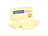 NOTES REPOSITIONABLE HIGHLAND 6549 76X76MM YELLOW PK12 PADS 100 NOTES PER PAD