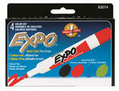 MARKER WHITEBOARD EXPO CHISEL ASSORTED PK4